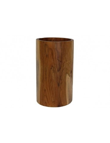 Large decorative round vase made of teak wood