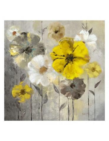 Canvas art - flowers on beige