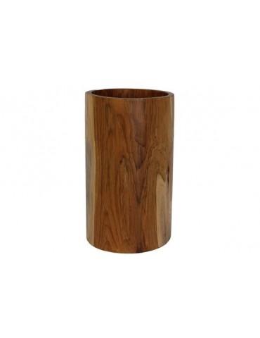 Large decorative round vase made of teak wood