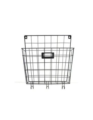 Metal wall basket black
