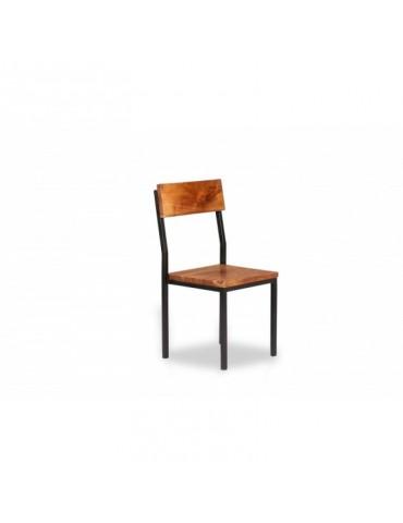 Chaise en métal et acacia